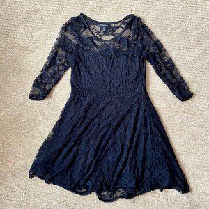 Black 3/4 Length Sleeve Lace Dress